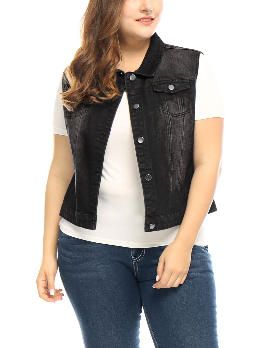 Women Plus Size Chest Pockets Single Breasted Denim Vest Black 3X