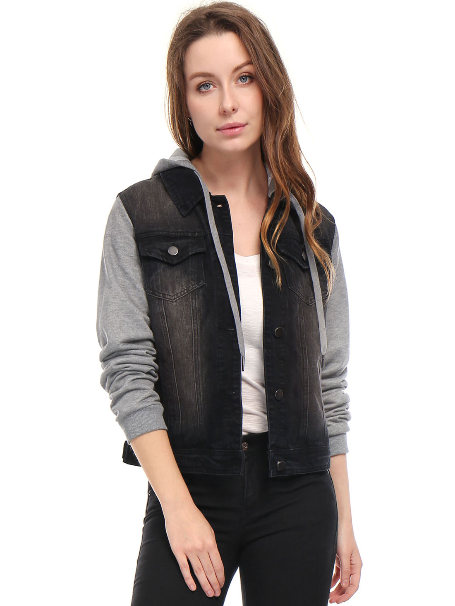 Allegra K Women Layered Drawstring Hood Denim Jacket w Pockets Black S