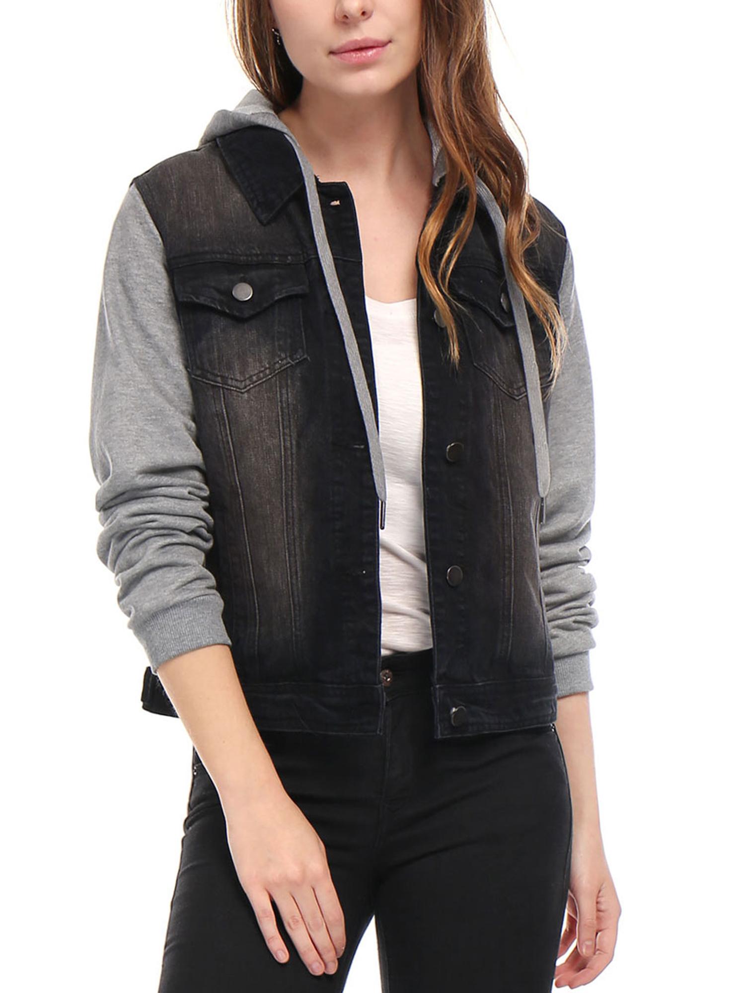 Women Layered Drawstring Hood Denim Jacket w Pockets Black M