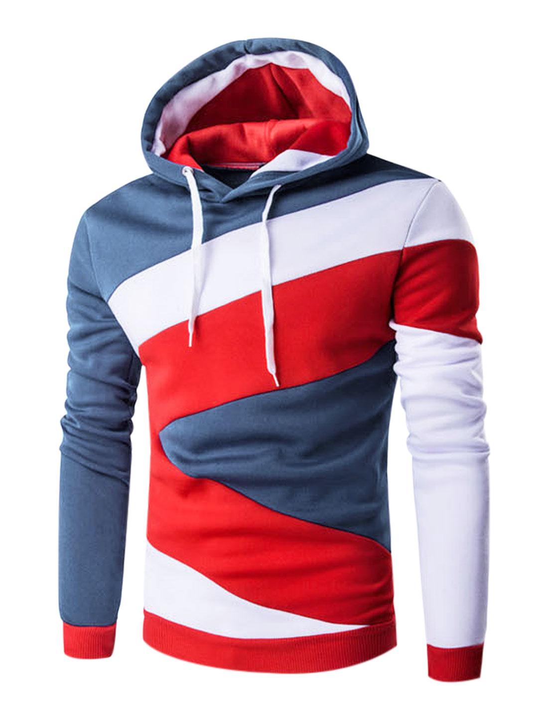 Men Long Sleeves Color Block Drawstring Hooded Sweatshirt Dark Blue M
