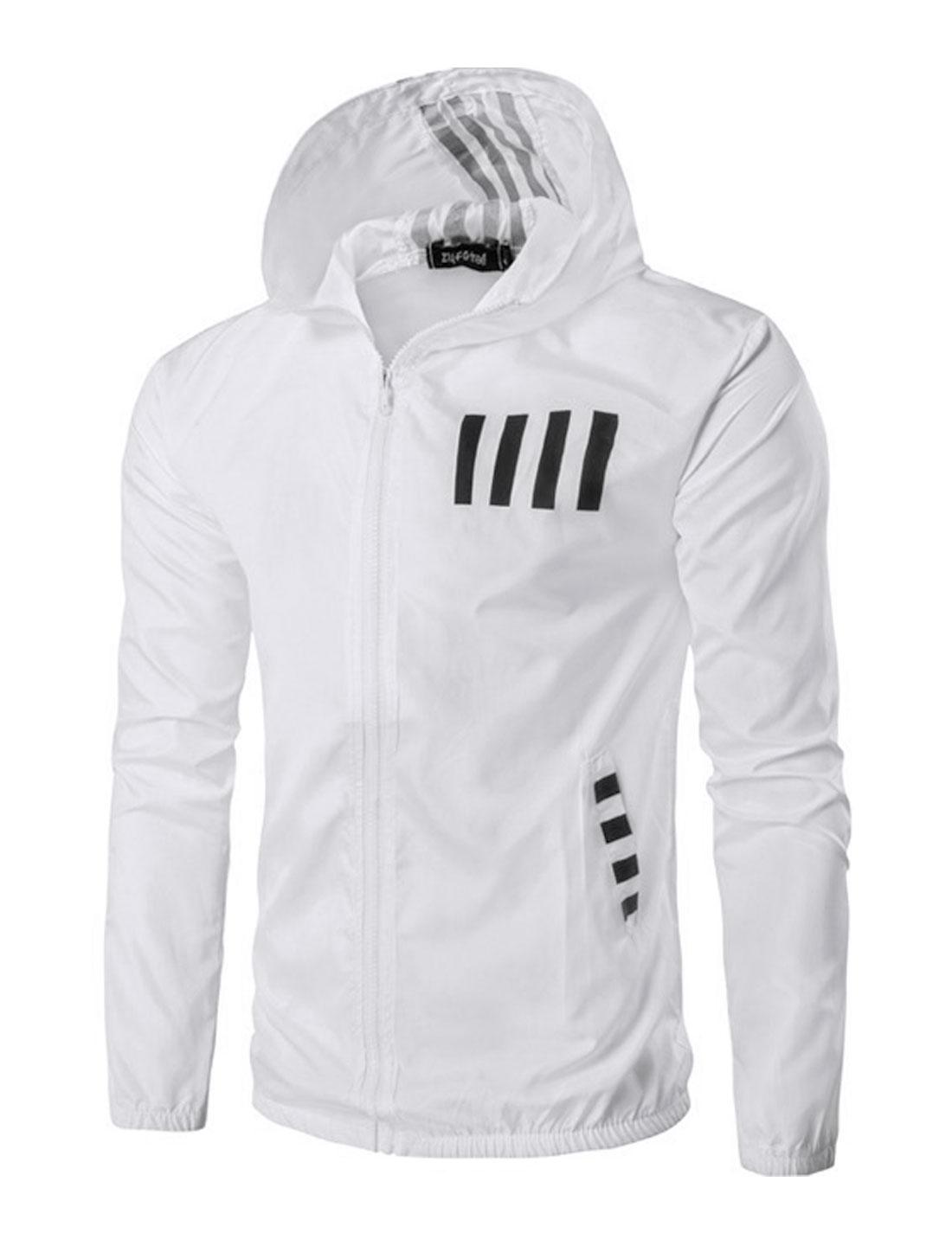 Men Hooded Stripes Number Print Zip Up Pockets Jacket White M