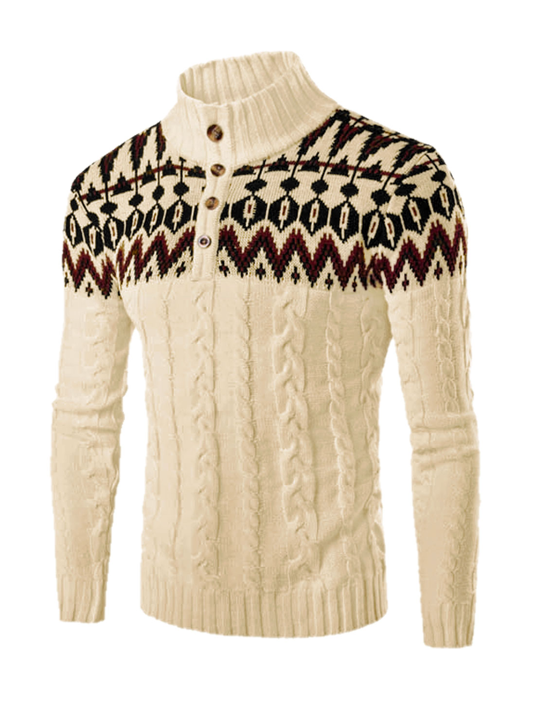 Men Stand Collar Button Upper Novelty Pattern Cable Knit Sweater Beige S