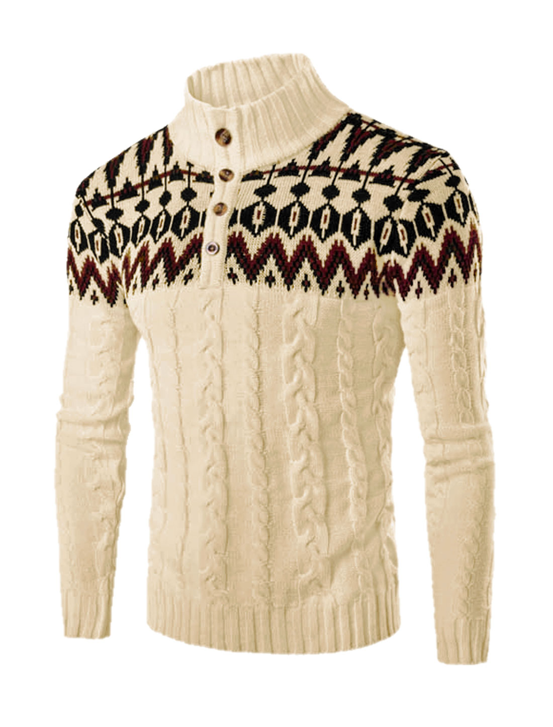 Men Stand Collar Button Upper Novelty Pattern Cable Knit Sweater Beige M