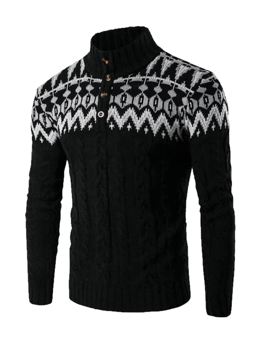 Men Stand Collar Button Upper Novelty Pattern Cable Knit Sweater Black M
