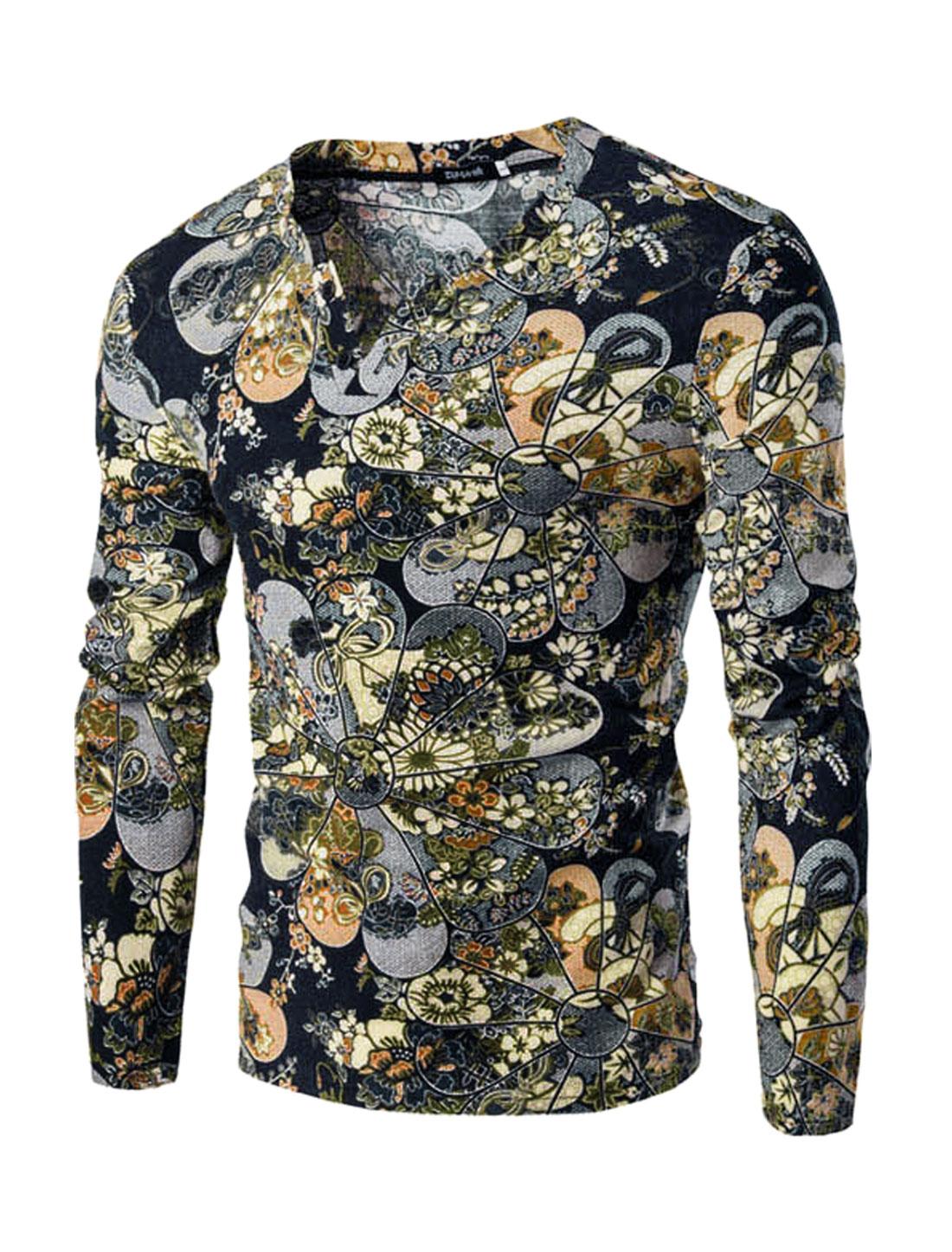 Men Split Neck Long Sleeves Floral Prints Slim Fit T-shirt Blue M