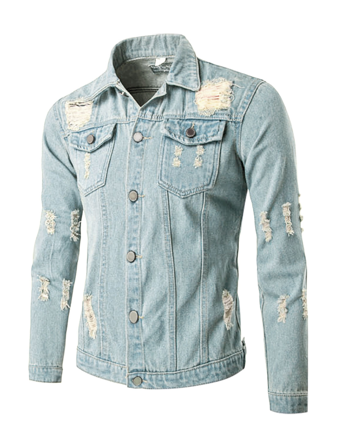 Men Long Sleeves Button Closure Destroyed Jean Jacket Light Blue S