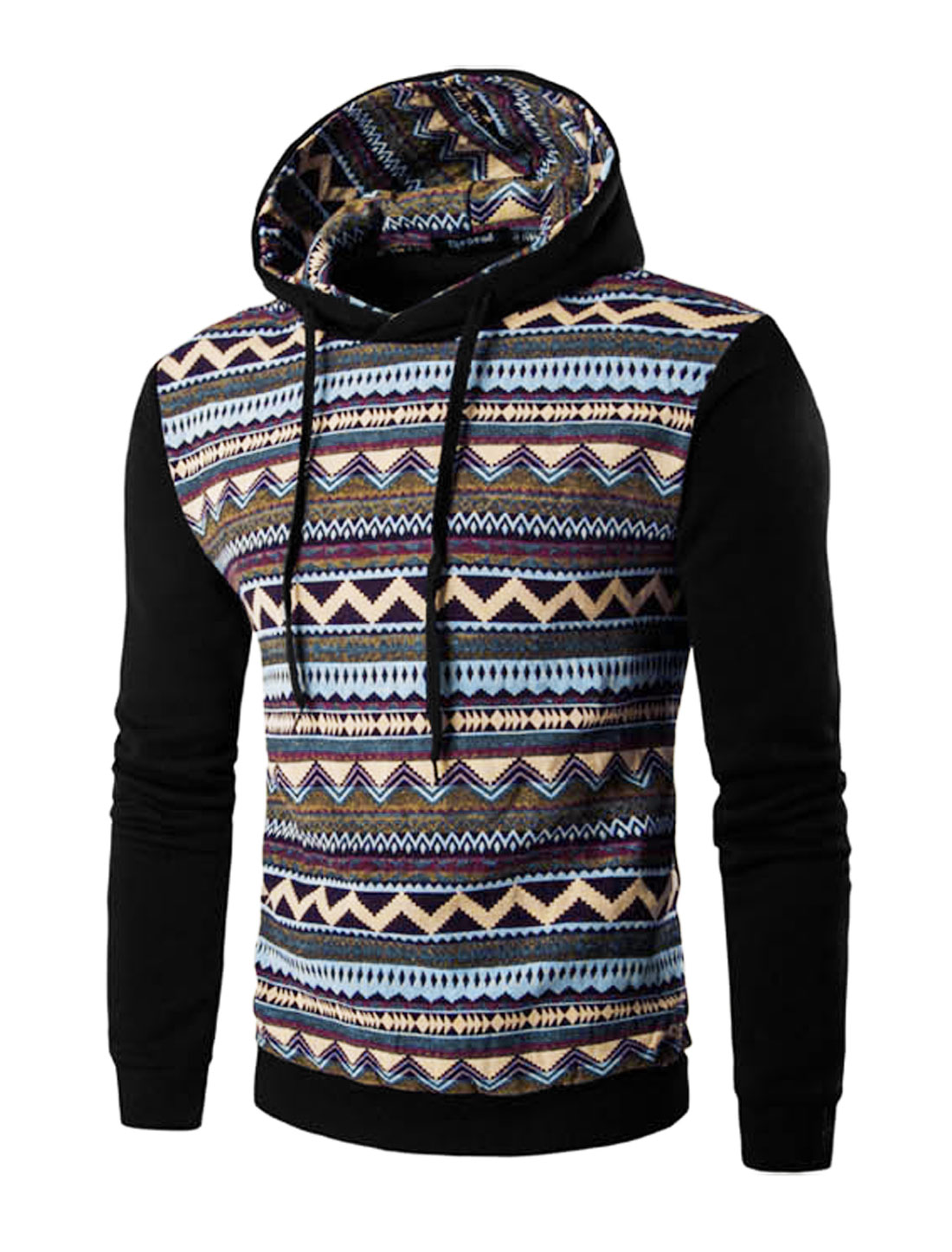 Men Zig-zag Long Sleeve Drawstring Hooded Sweatshirt Black M