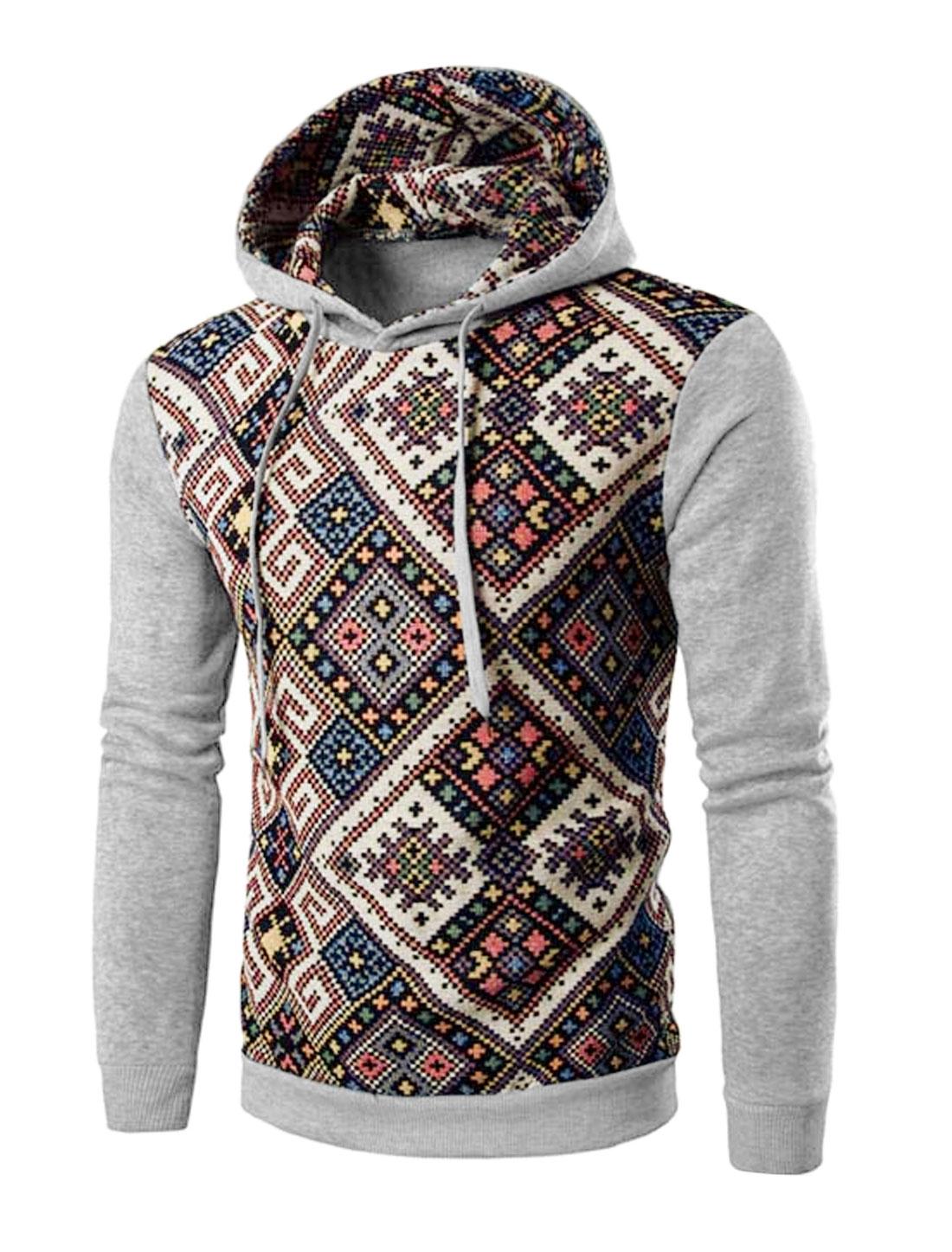 Men Argyle Print Long Sleeve Drawstring Hooded Sweatshirt Light Gray M