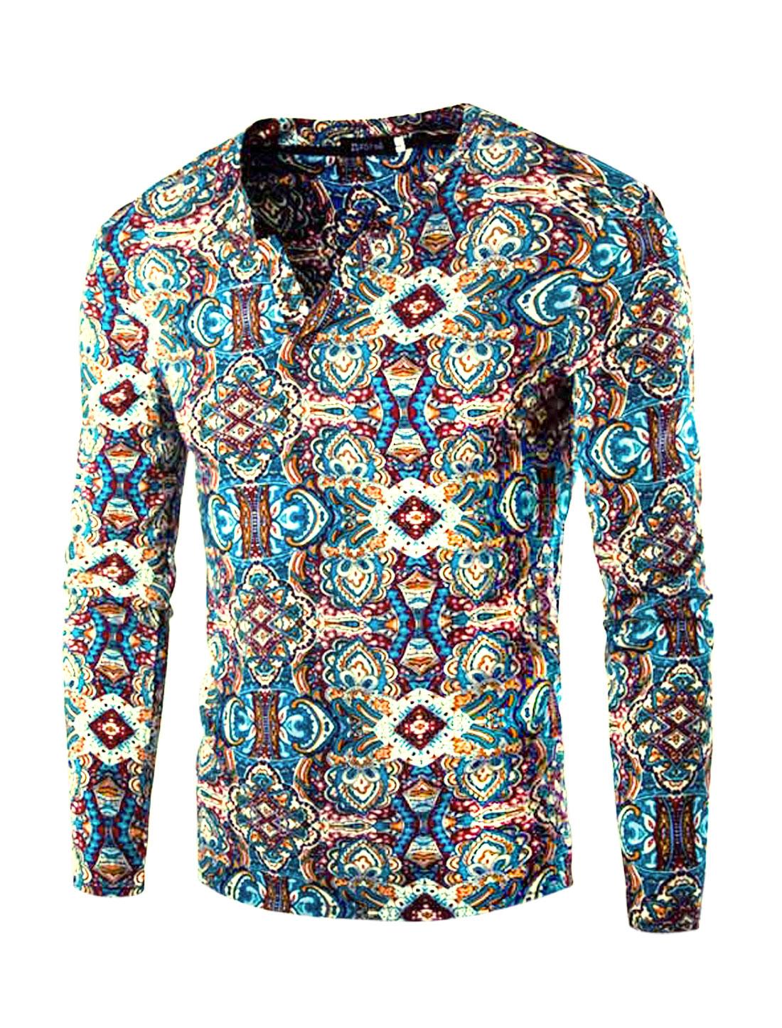 Men Split Neck Long Sleeves Slim Fit Floral Prints Tee Shirt Light Blue S