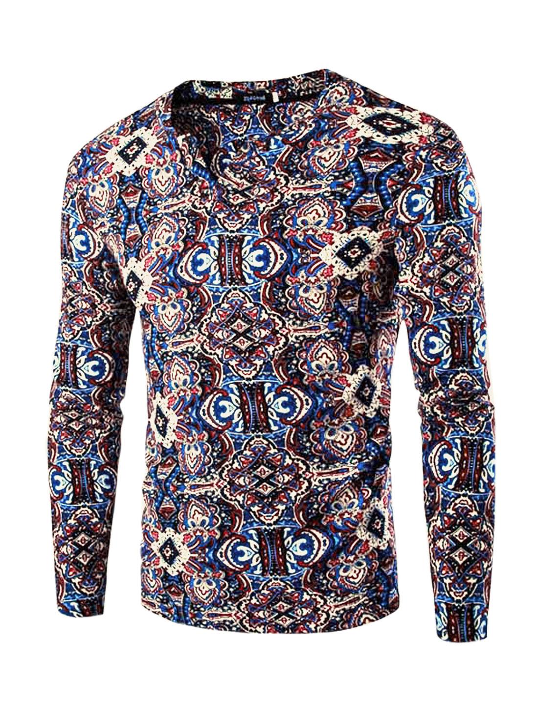 Men Split Neck Long Sleeves Slim Fit Floral Prints Tee Shirt Dark Blue M