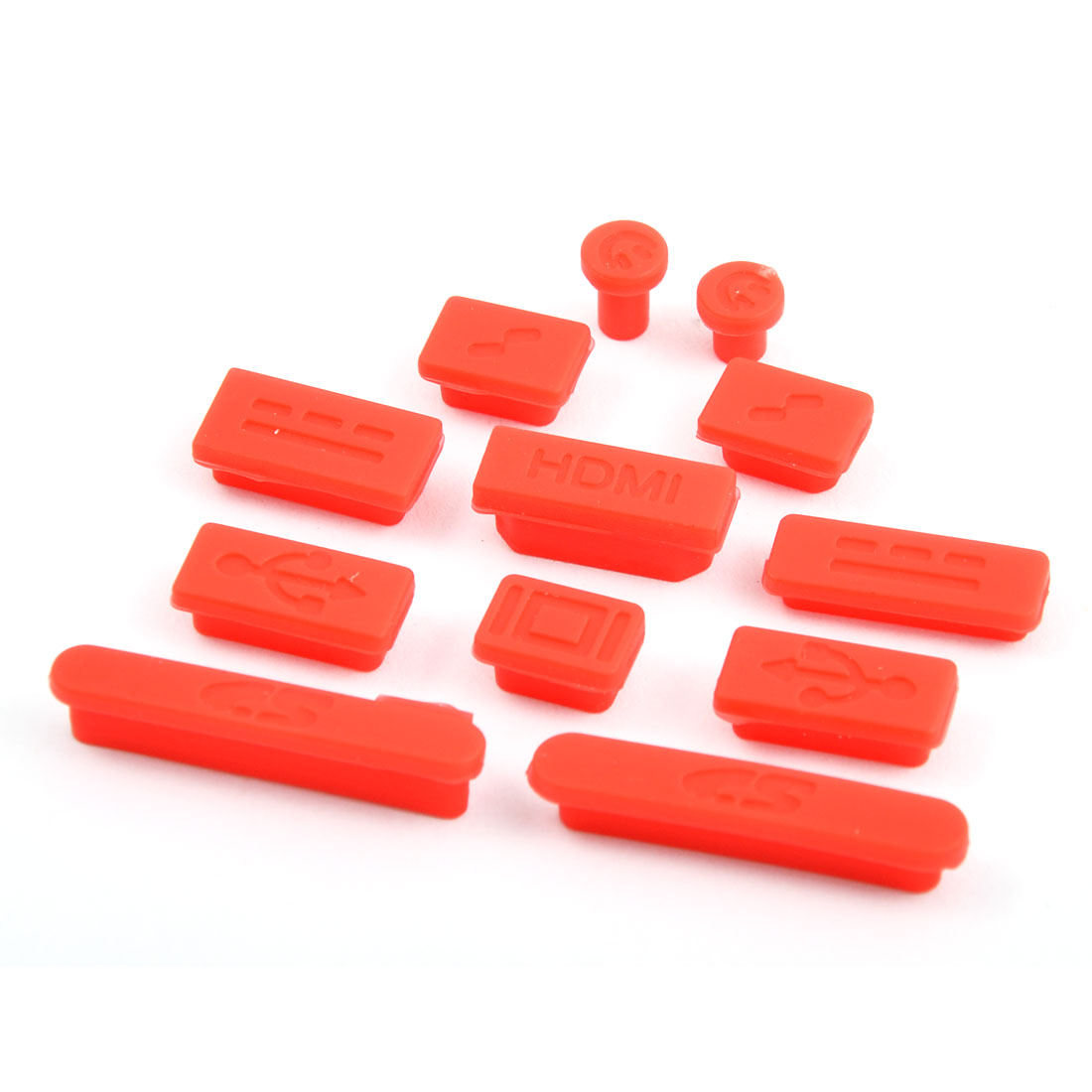 PC Computer Silicone Anti-Dirt Laptop Anti Dust Connector Cap Set Red 12 in 1 for Macbook Retina