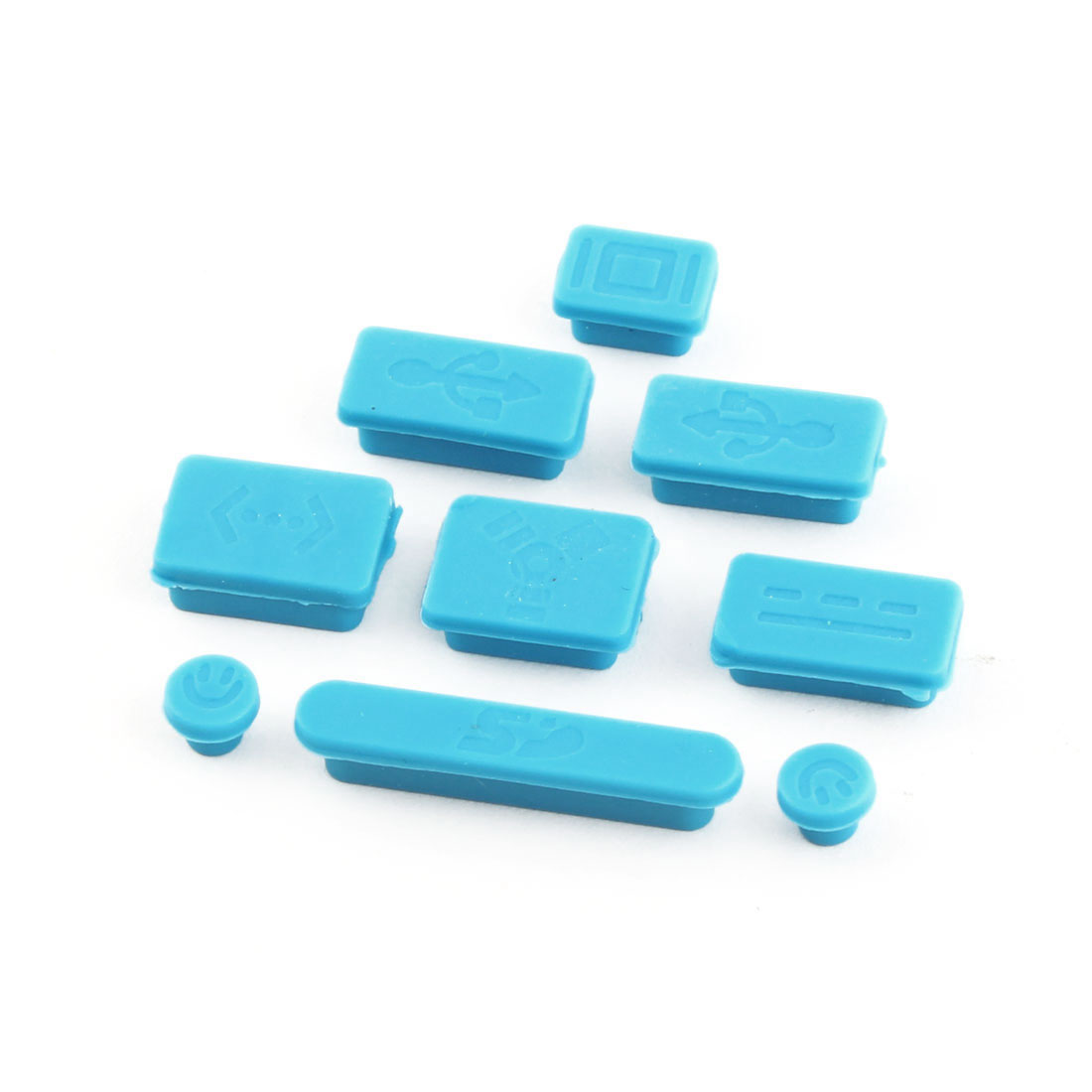 Computer Silicone Protective Notebook Anti Dust Connector Set Blue 9 in 1 for Macbook Pro
