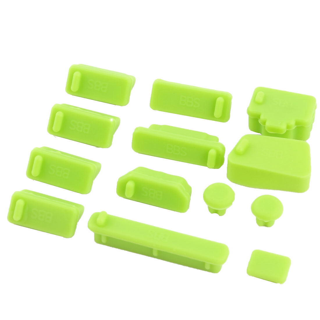 PC Computer Silicone Universal Non-Slip Dust Stopper Cover Notebook Anti Dust Connector Set Green 13 in 1
