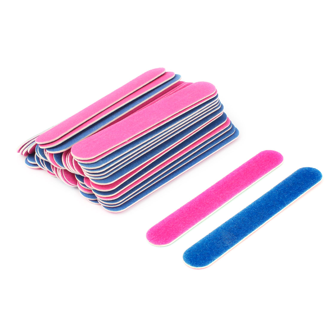 Dull Polish Double Sided Disposable Callus Remover Nail File Fuchsia Blue 50pcs