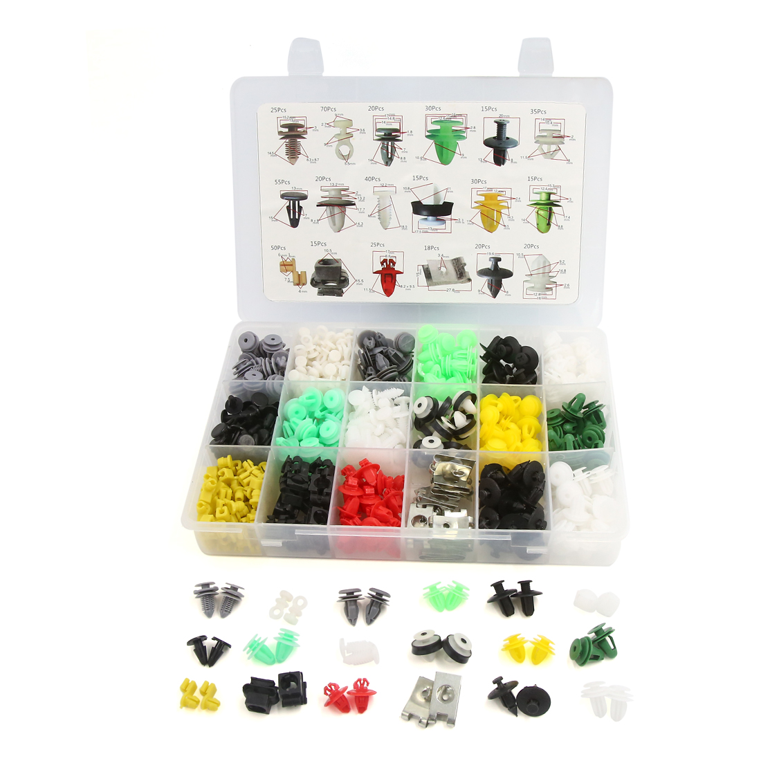 518Pcs Universal Plastic Rivets Car Moulding Fastener Retainer Clips 18 Type