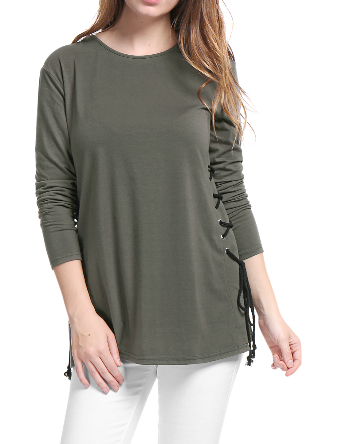 Women Lace Up Sides Long Sleeves Crew Neck Blouse Gray XS