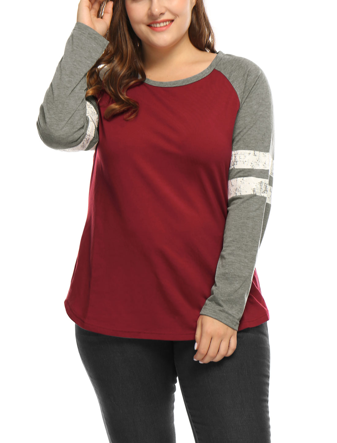 Women Plus Size Color Block Varsity-Striped Raglan Baseball T-Shirt Red 1X