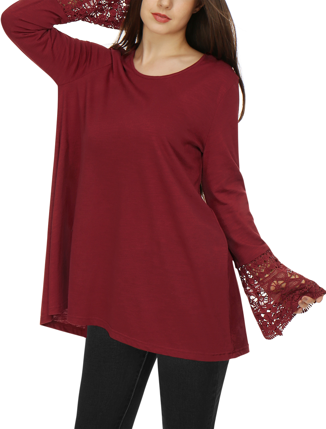 Women Crochet Panel Bell Sleeves Loose Tunic Top Red M