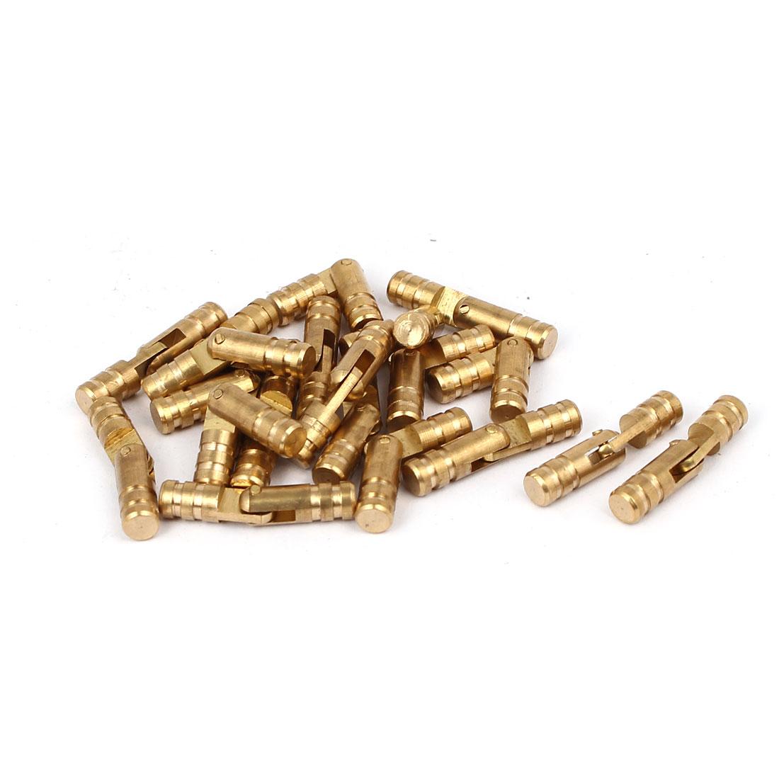 Cabinet Cylinder Folding Support Hinge Brass Tone 5mm x 25mm 20pcs