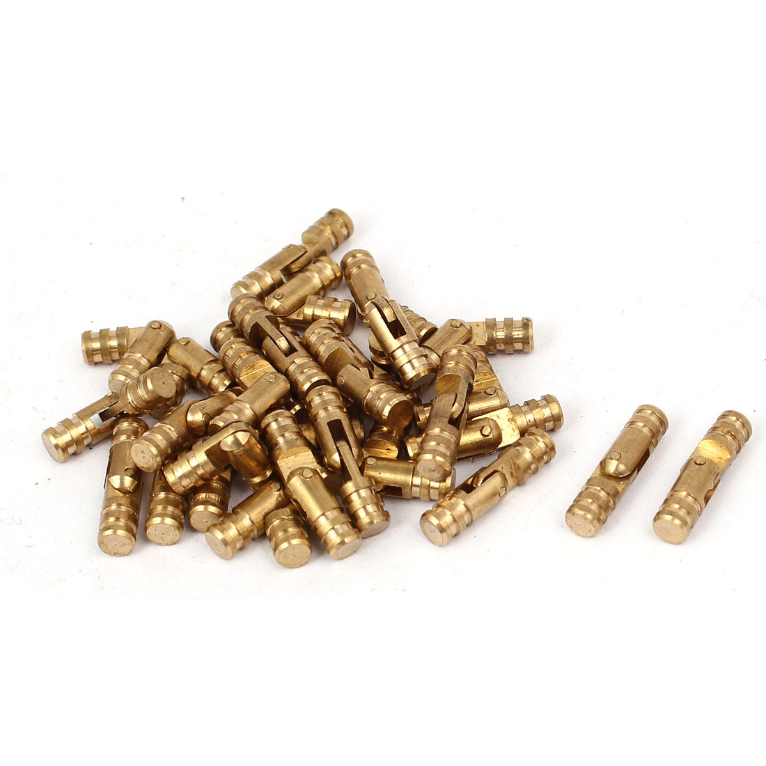 Cabinet Cylinder Folding Support Hinge Brass Tone 4mm x 17mm 30pcs
