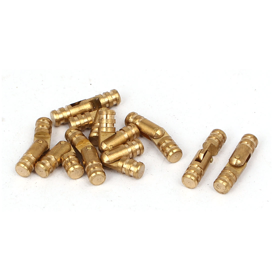 Cabinet Cylinder Folding Support Hinge Brass Tone 4mm x 17mm 10pcs