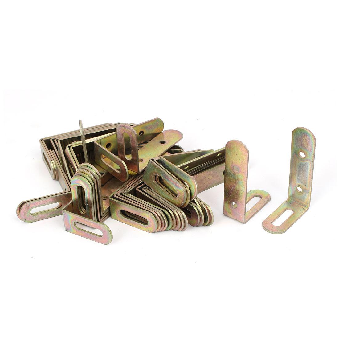 69mmx43mmx19mm L Shape Angle Bracket Corner Brace Fastener Bronze Tone 50pcs