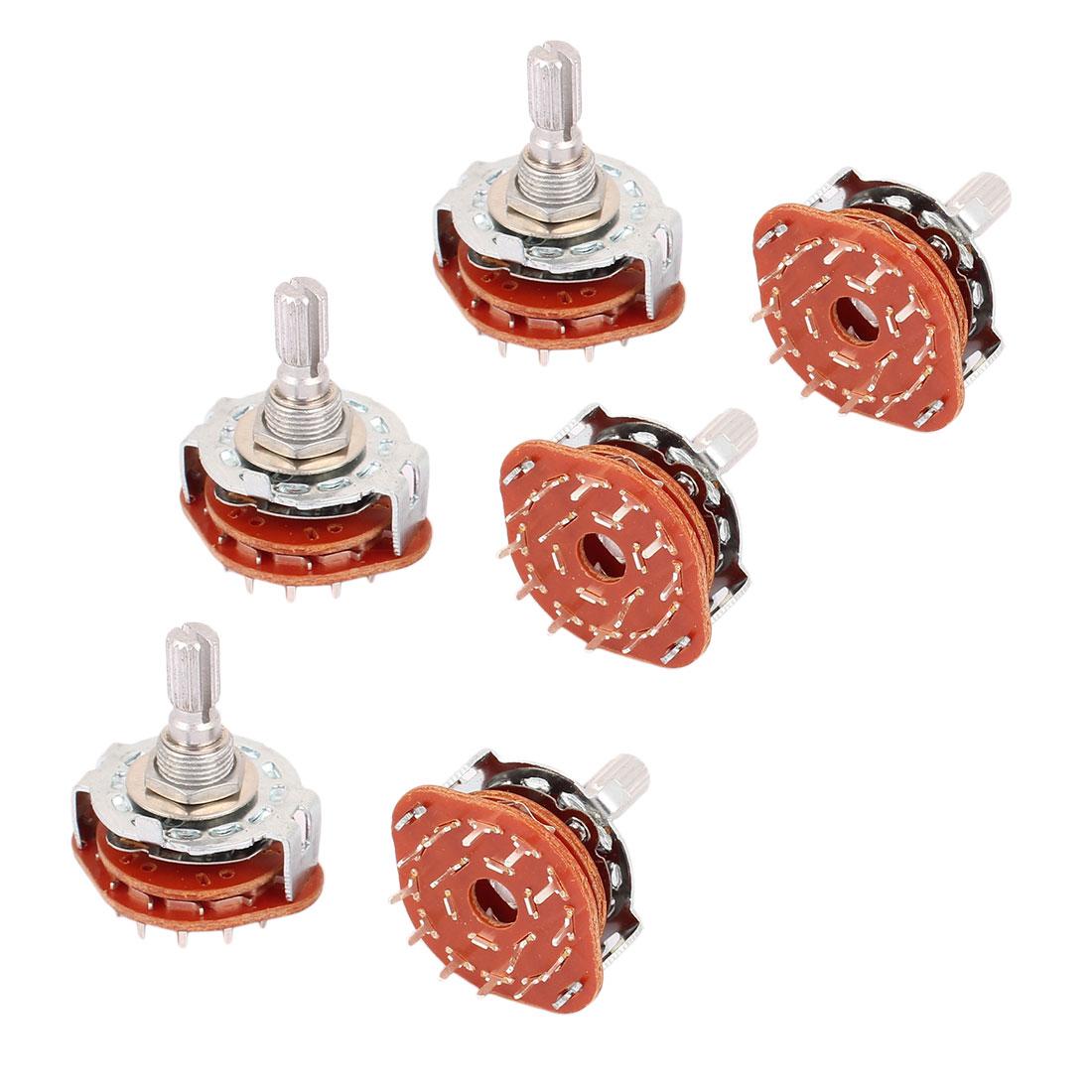 6 Pcs 6mm Split Shaft AC 125V 0.3A 250V 0.6A 2P6T Rotary Switch