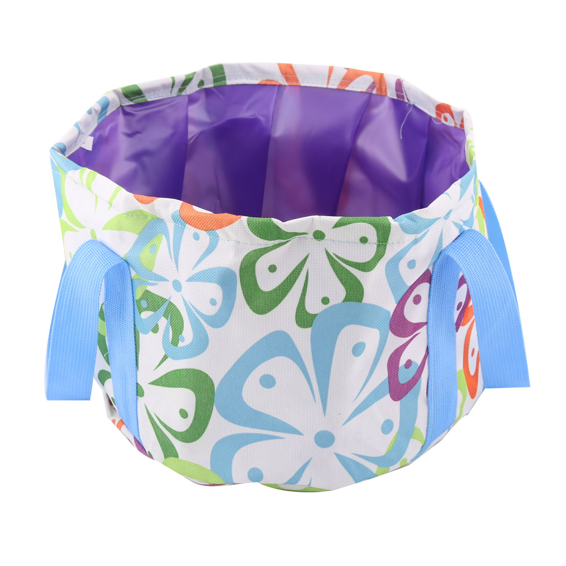 Outdoor Flower Pattern Portable Foldaway Fishing Barrel Water Storage Bucket Washbasin Assorted Color