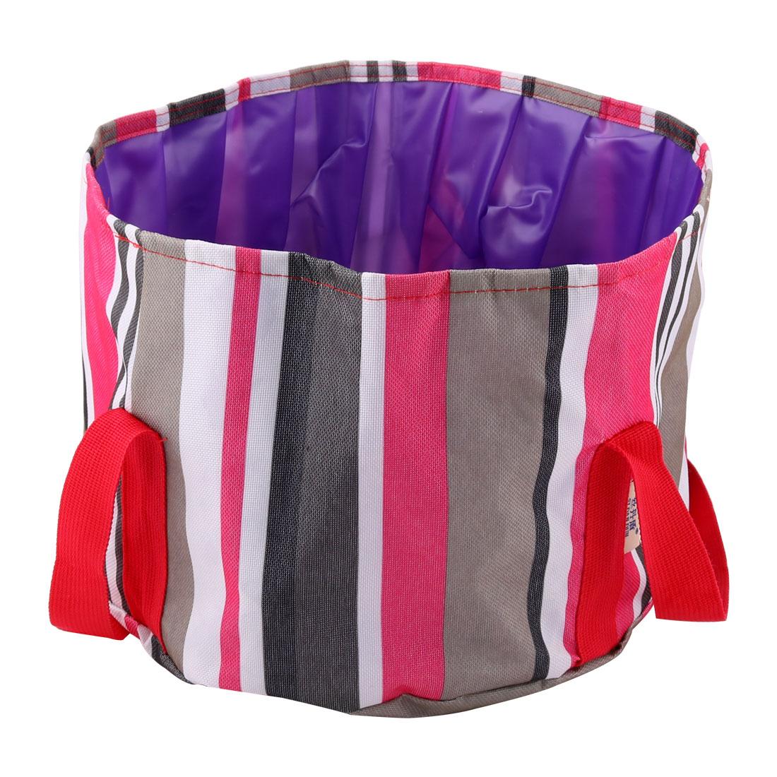 Outdoor Camping Stripe Pattern Portable Foldaway Fishing Bucket Washbasin Red