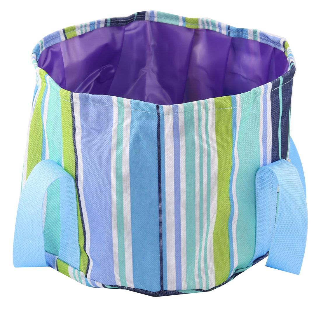 Outdoor Stripe Pattern Portable Foldaway Fishing Barrel Water Storage Bucket Washbasin Blue