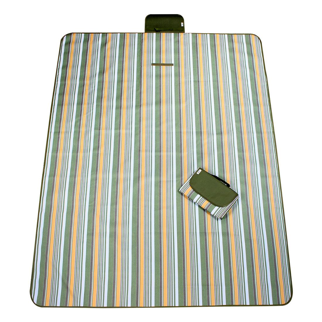 Outdoor Hiking Camping Nylon Stripe Pattern Picnic Mat Army Green 145 x 180cm