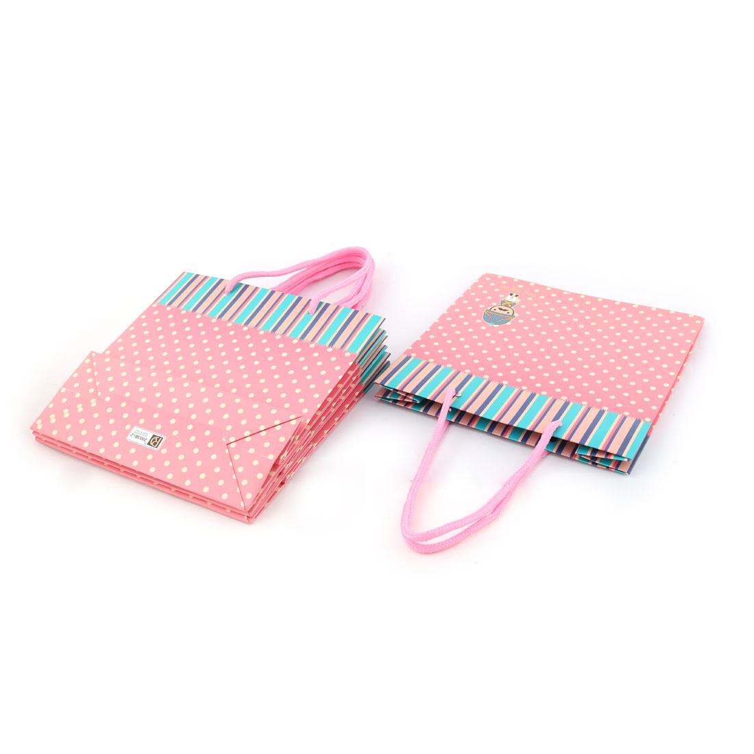 Paper Dot Stripe Soldier Pattern Birthday Party Present Gift Bags Holder Pink 4pcs