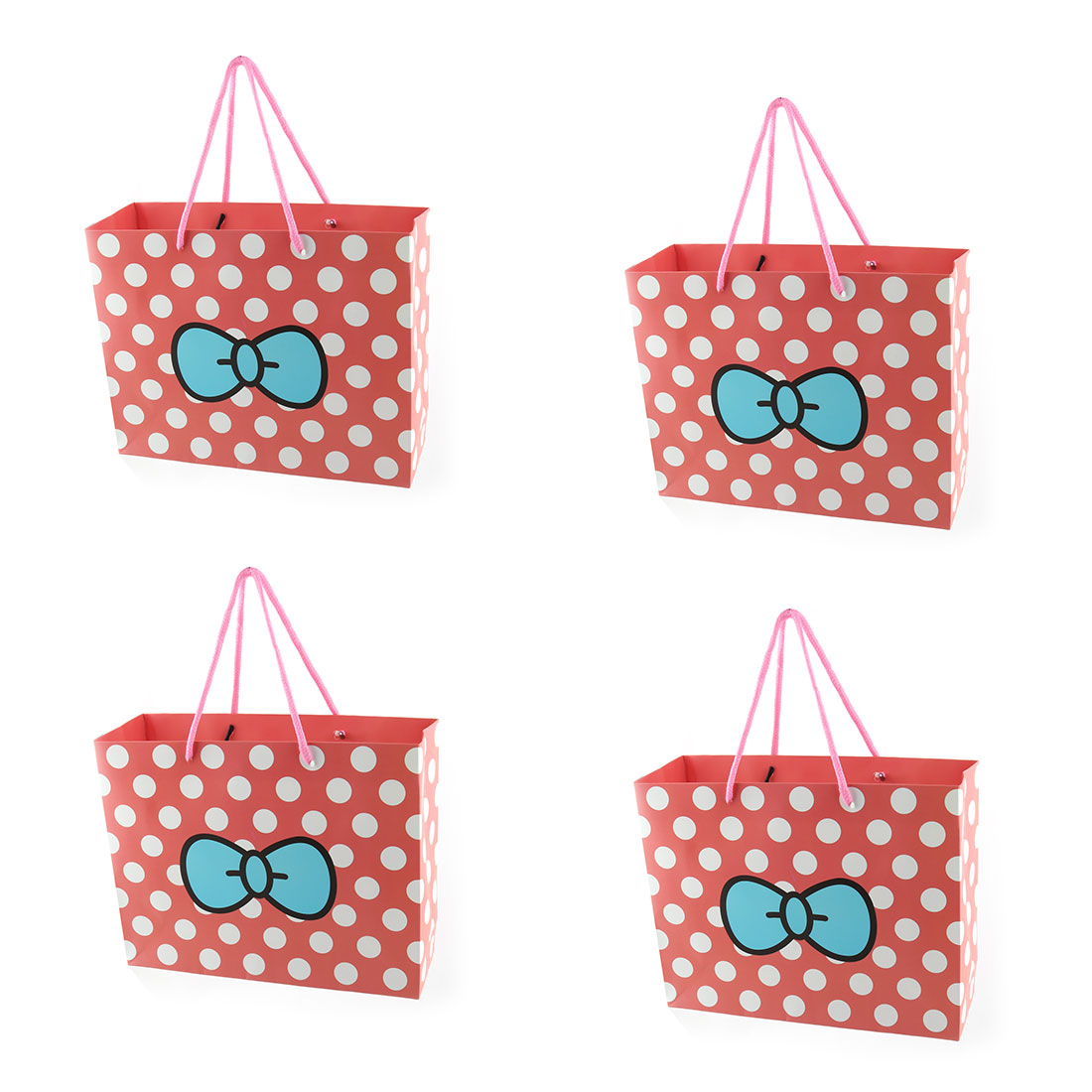 Paper Dots Bowknot Pattern Birthday Wedding Valentine's Day Gift Bags Holder 4pcs