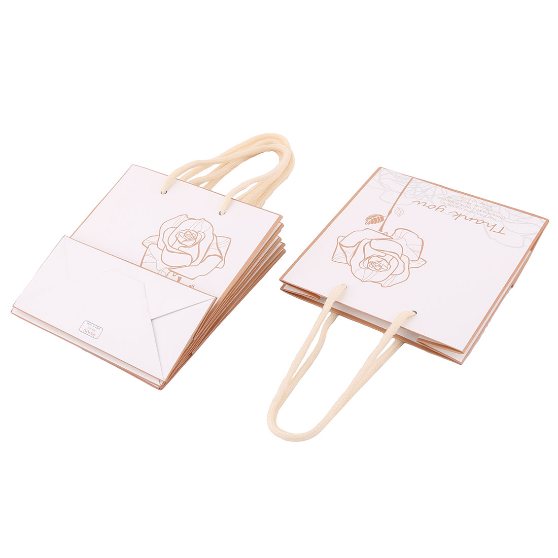 Boutique Retail Rose Pattern Foldable Holder Handbag Wrapper Gift Bags 4 PCS