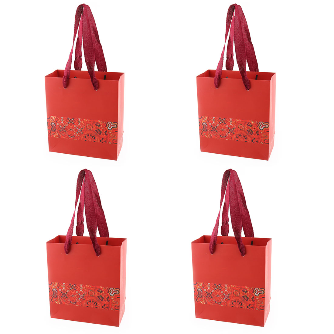 Paper Flower Printed Birthday Wedding Valentine's Day Gift Bags Holder Red 4pcs