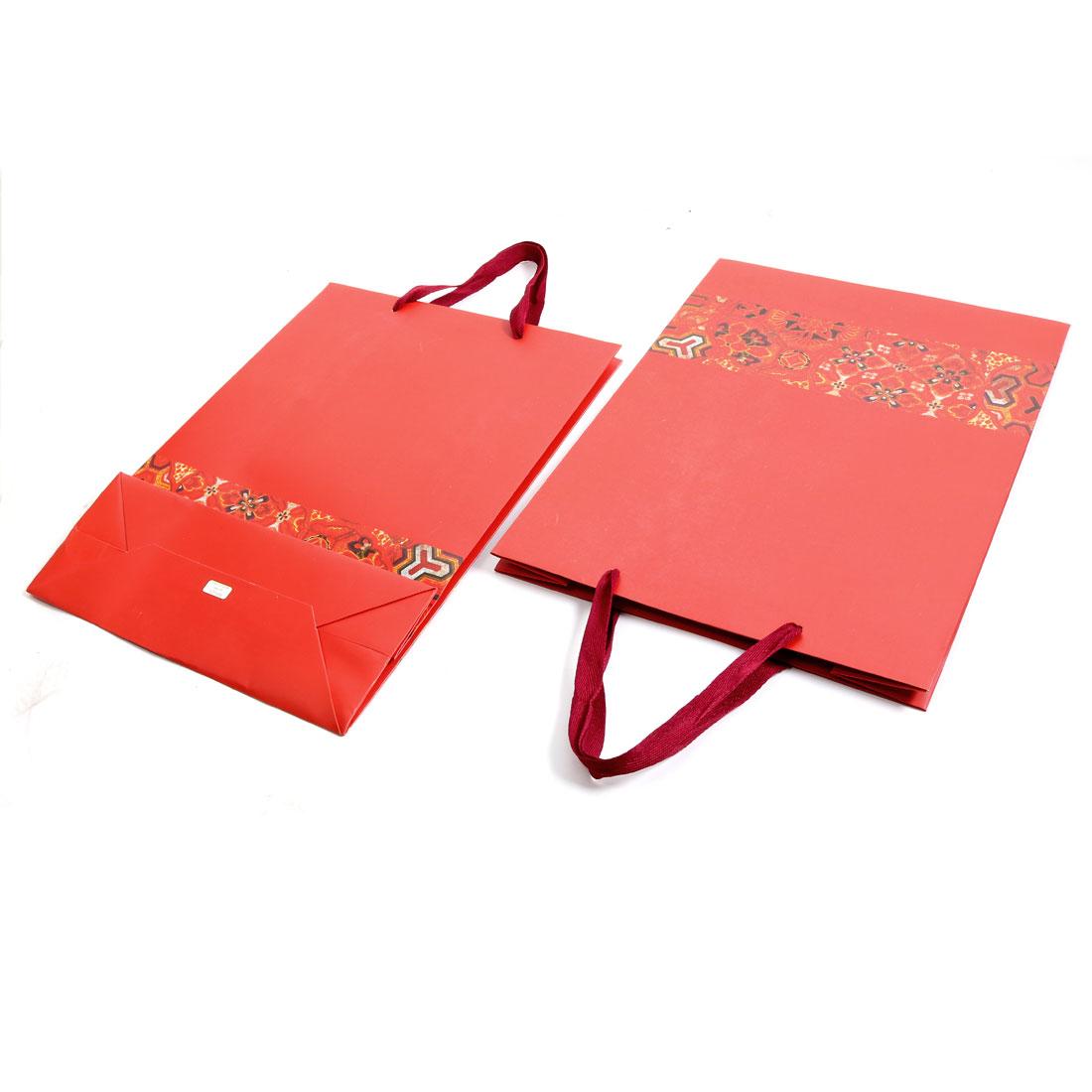 Boutique Retail Flower Pattern Foldable Handbag Wrapper Gift Bags Red 2 PCS