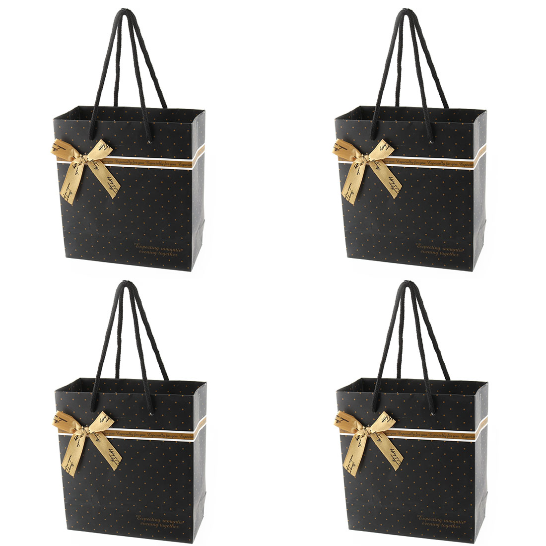 Holiday Paper Spots Pattern Bowknot Decor Birthday Wedding Gift Bag Black 4 Pcs