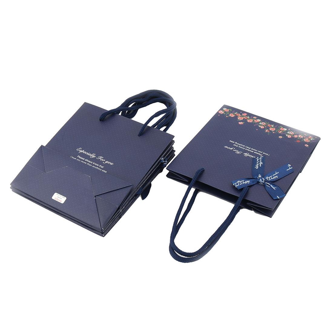 Boutique Retail Bowknot Decor Foldable Holder Handbag Wrapper Gift Bags 4 PCS