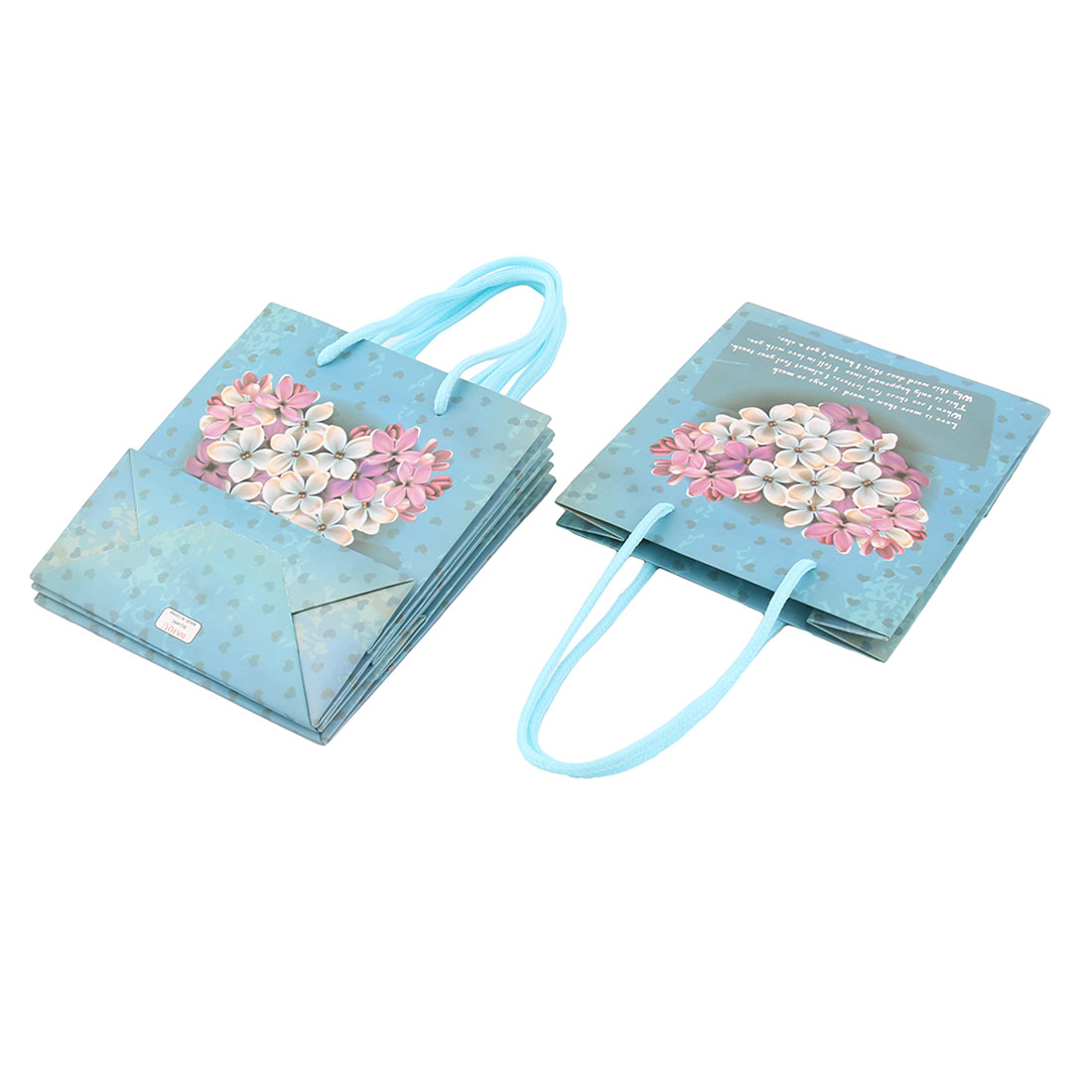 Shopping Retail Flower Pattern Foldable Holder Tote Wrapper Gift Bags 4 PCS