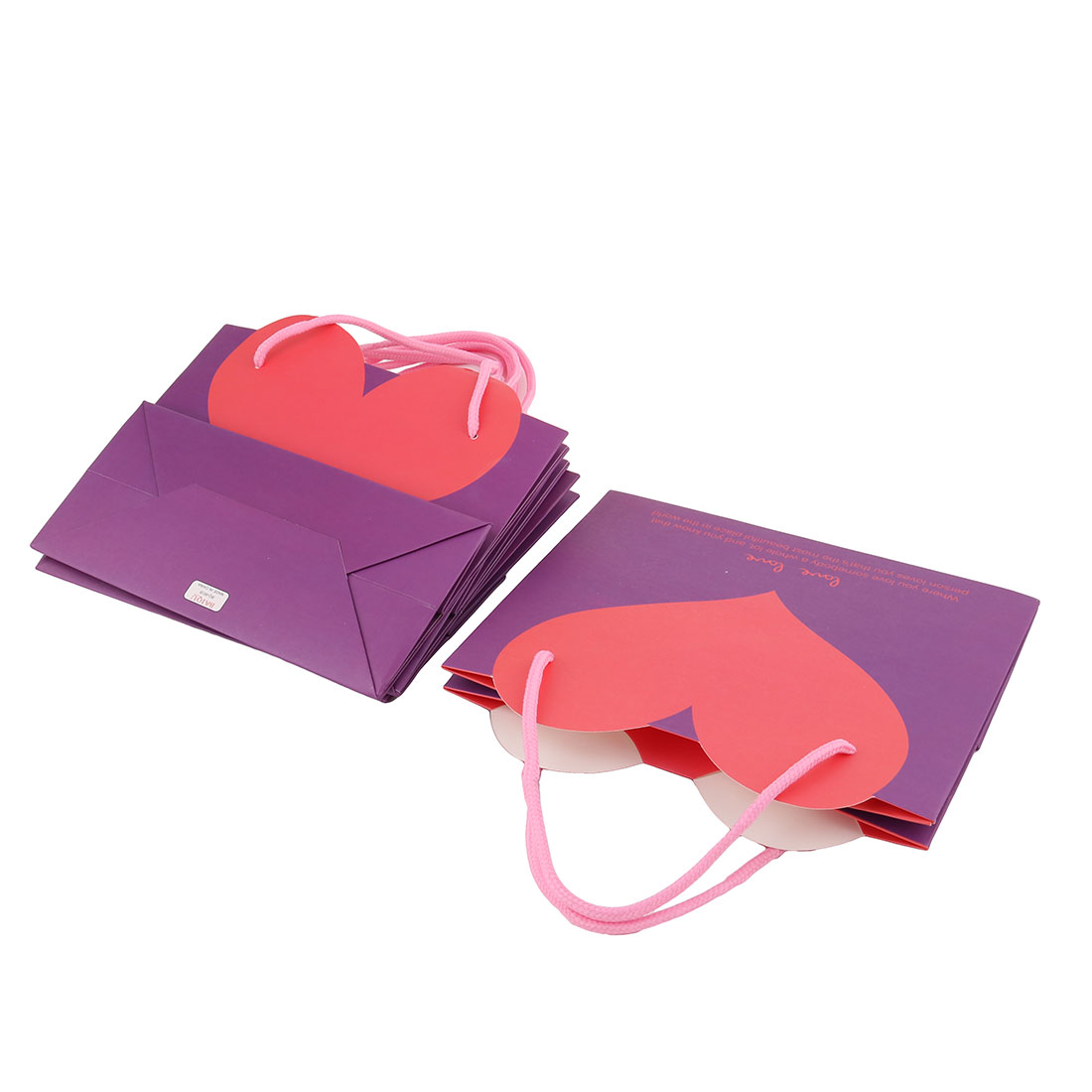 Boutique Heart Shaped Pattern Foldable Holder Wrapper Gift Bags Purple 4 PCS