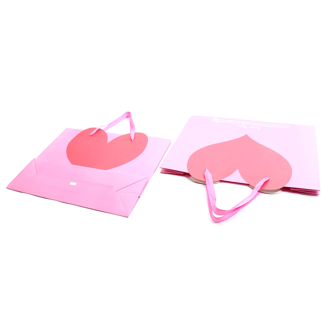 Paper Love Heart Pattern Wedding Clothes Valentine's Day Gift Bags Holder Pink 2pcs