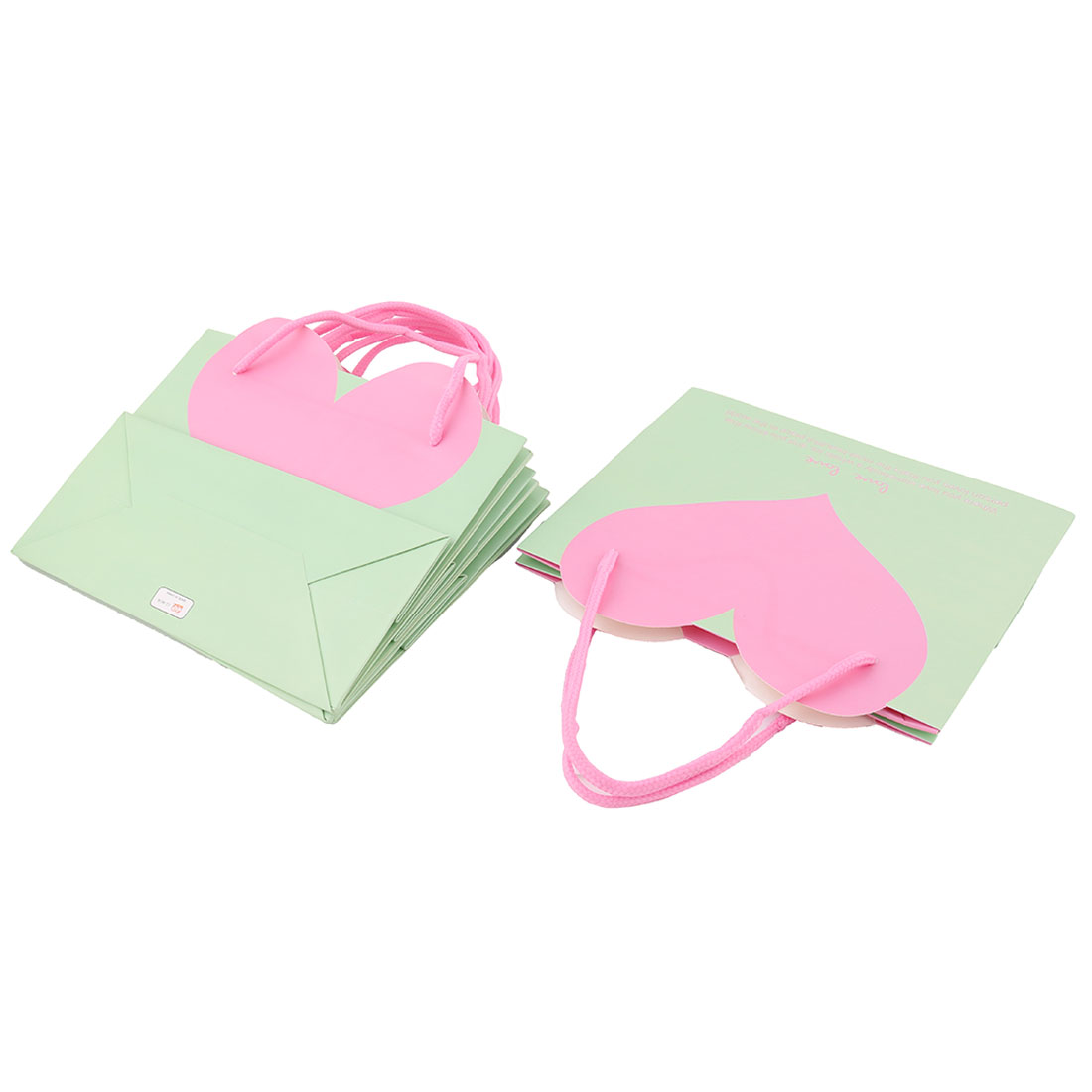 Boutique Birthday Heart Shaped Pattern Holder Tote Wrapper Gift Bags Green 4 PCS