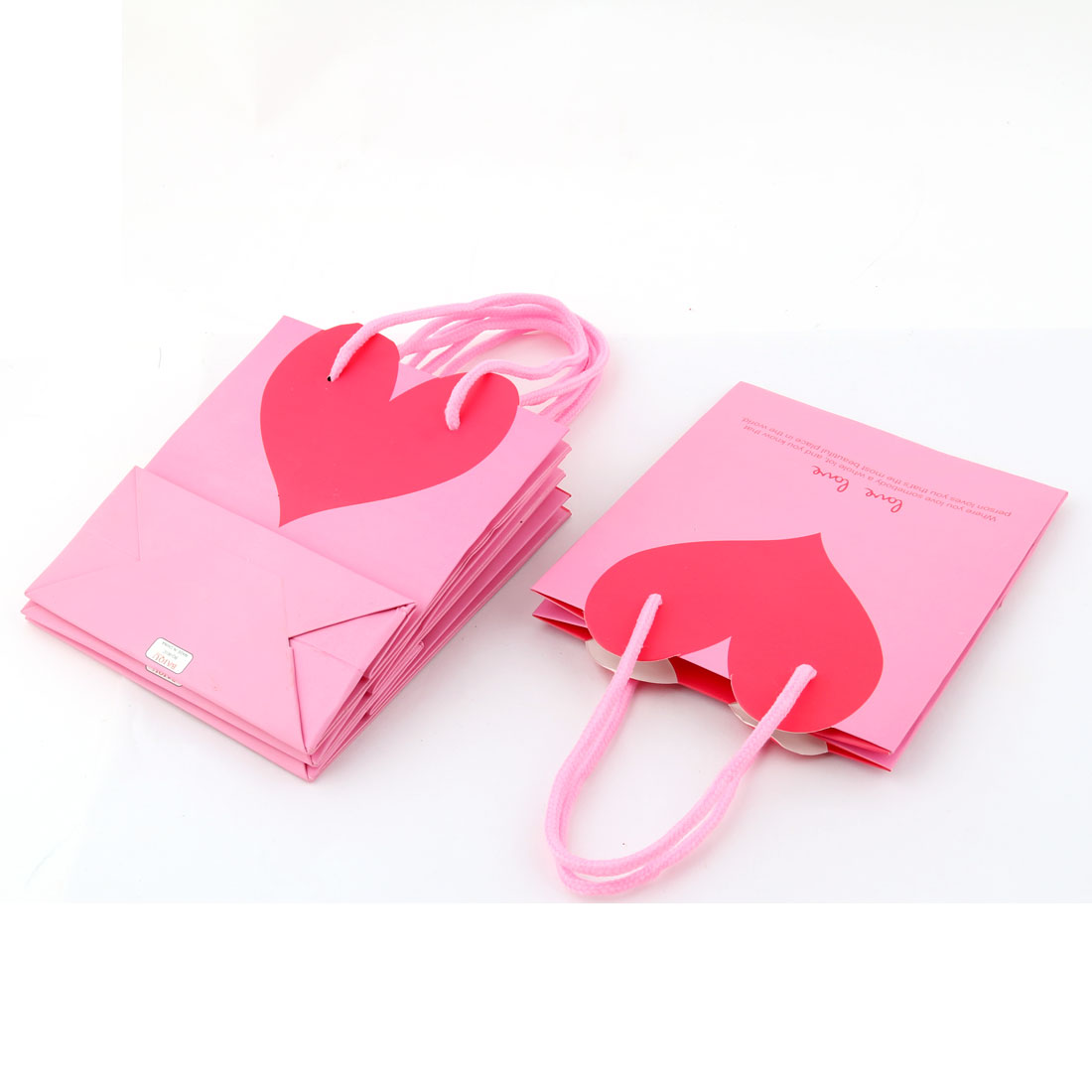 Birthday Paper Heart Shaped Pattern Foldable Wrapper Box Gift Bags Pink 4 PCS