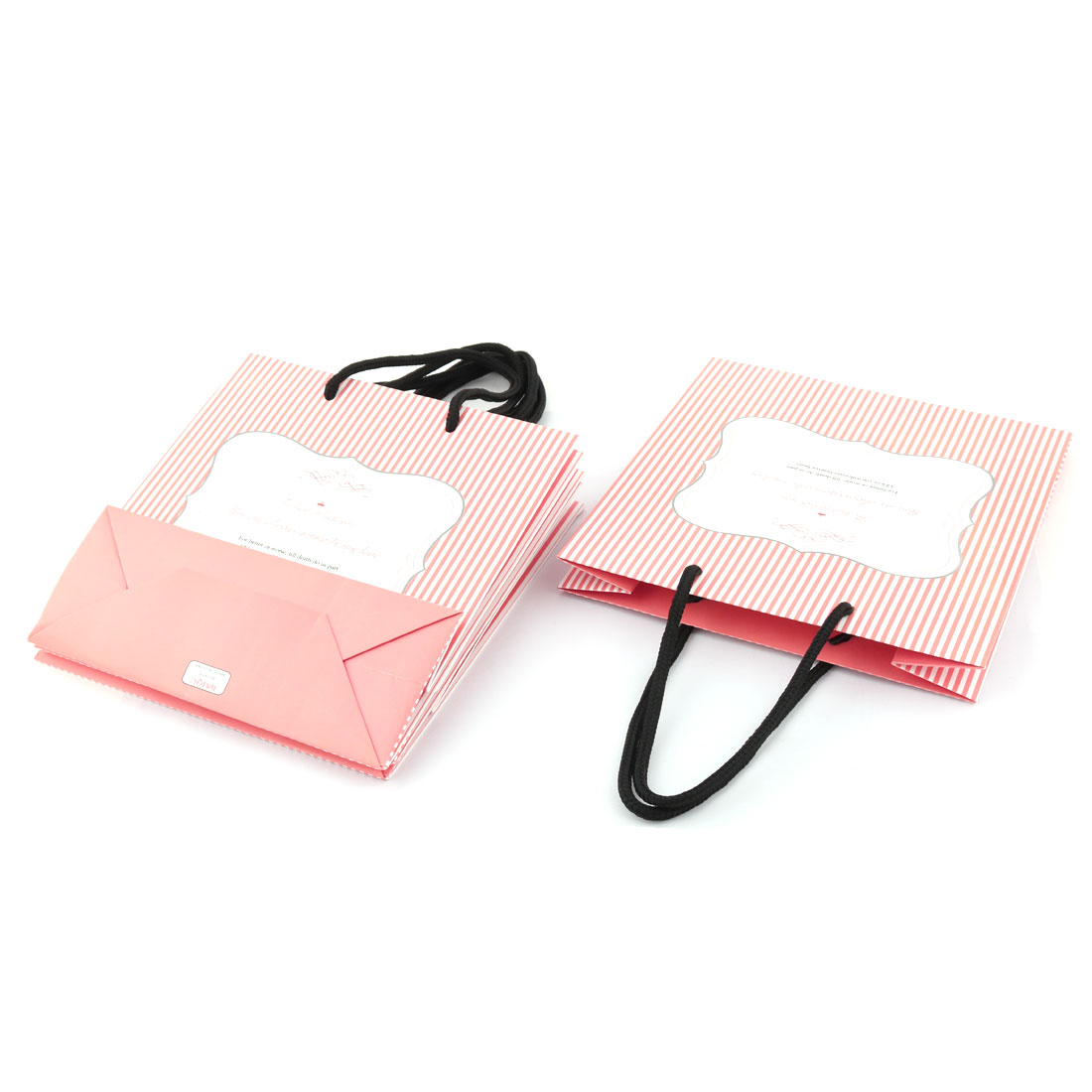 Paper Stripe Pattern Anniversary Birthday Party Present Gift Decor Bags Holder Coral Pink 4pcs