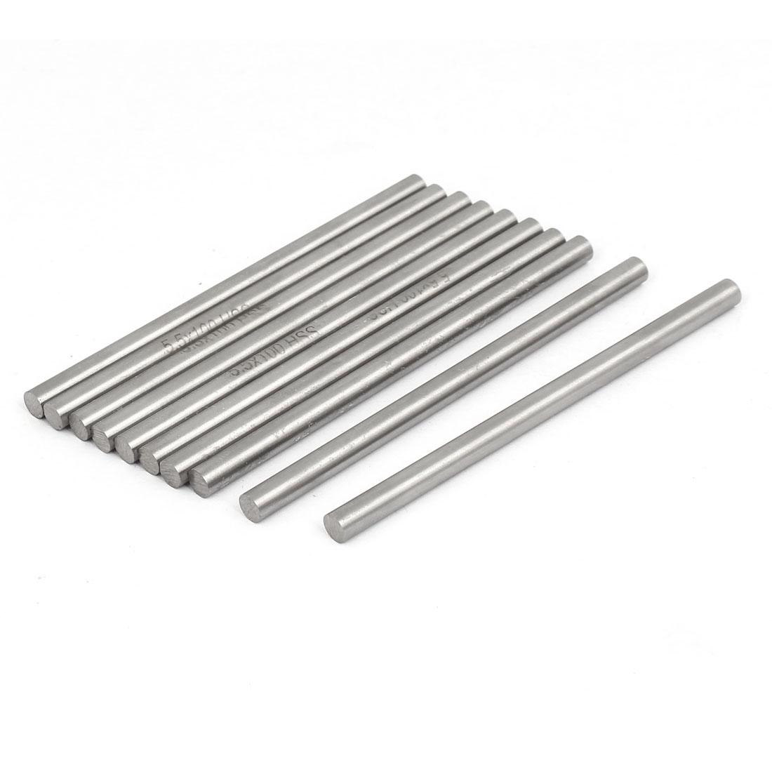 5.5mm Dia 100mm Length HSS Round Shaft Rod Bar Lathe Tools Gray 10pcs