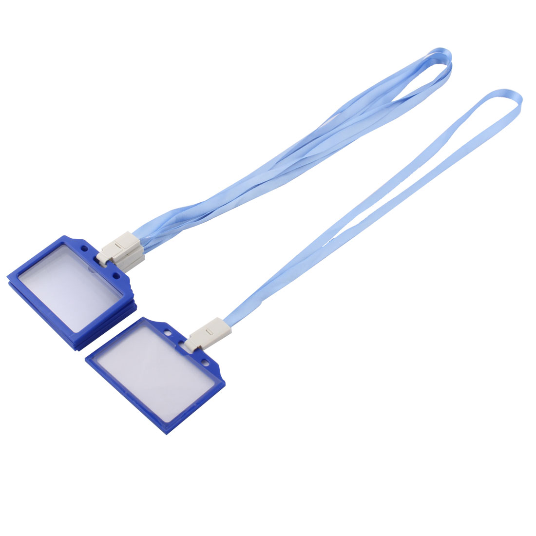 Office Neck Strap Band Lanyard Working Employee ID Card Holder Light Blue 5 Pcs