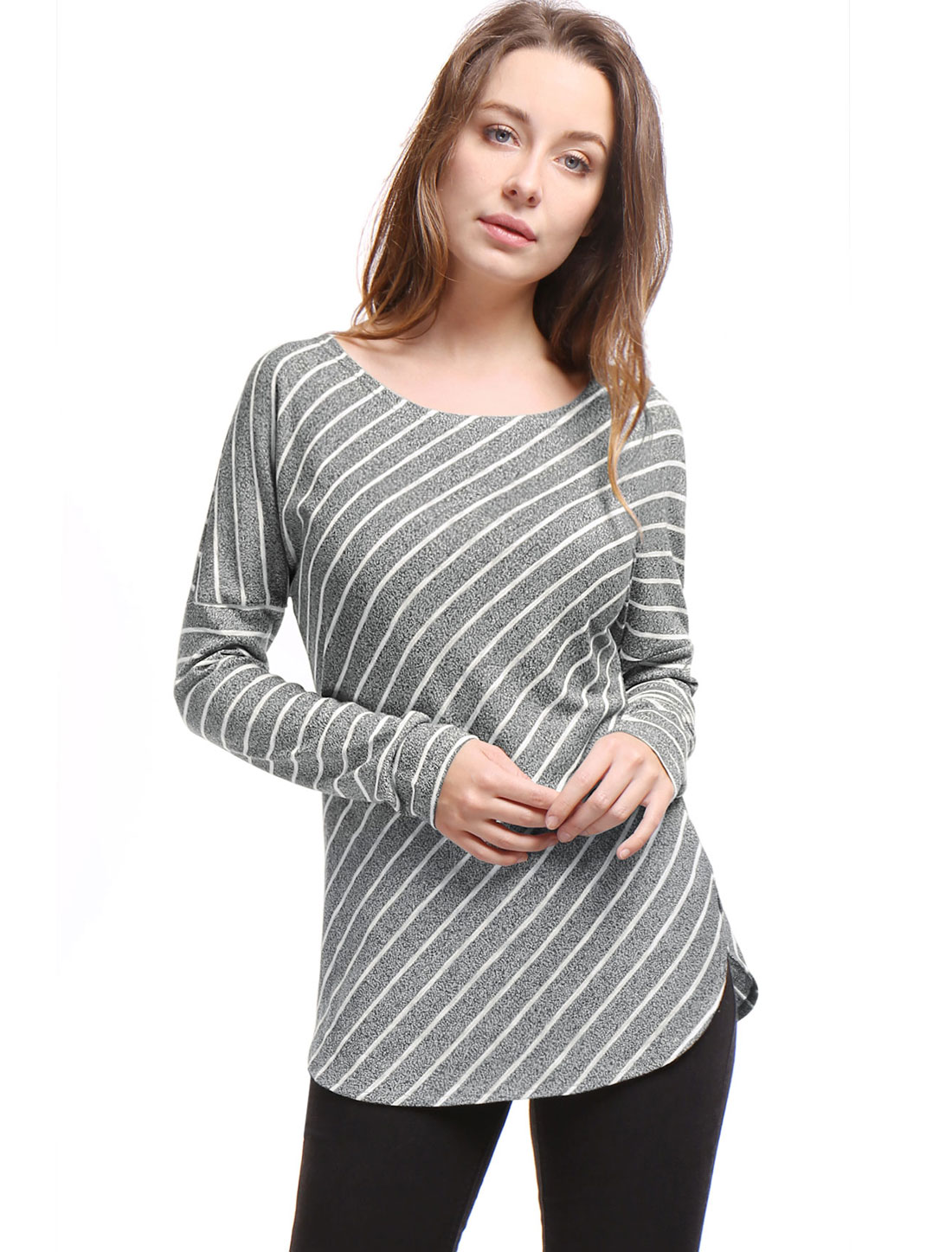 Women Stripes Scoop Neck Long Drop Sleeves Top Gray XS
