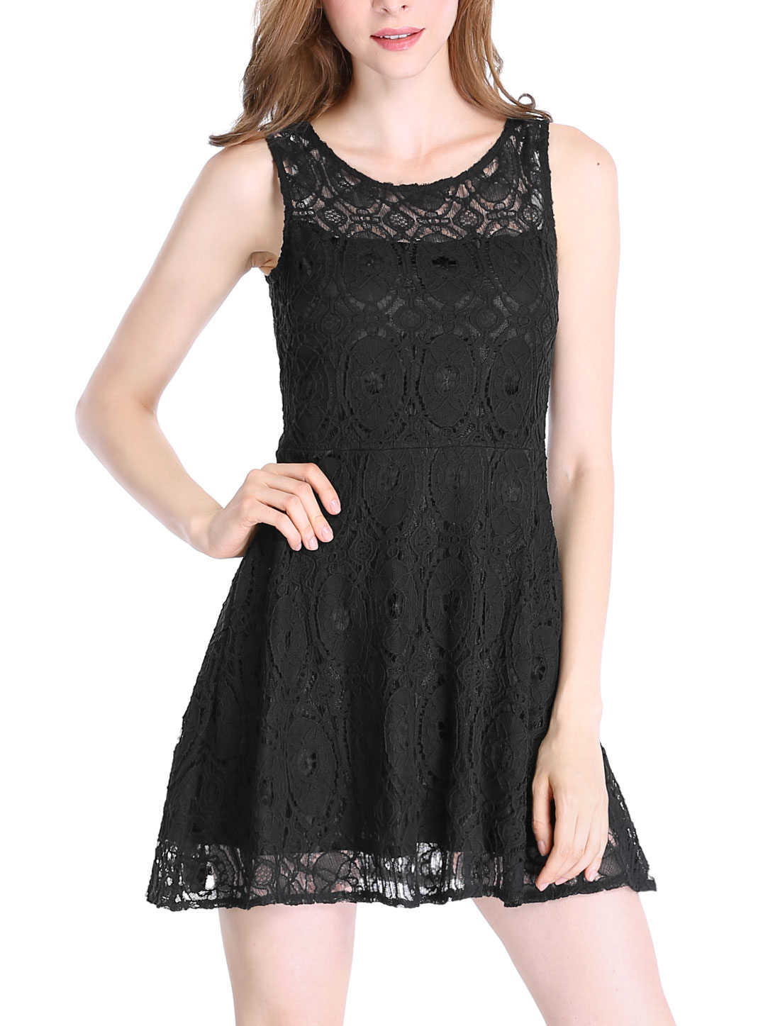 Women Sleeveless Bateau Neck Floral Lace Flare Dress Black L