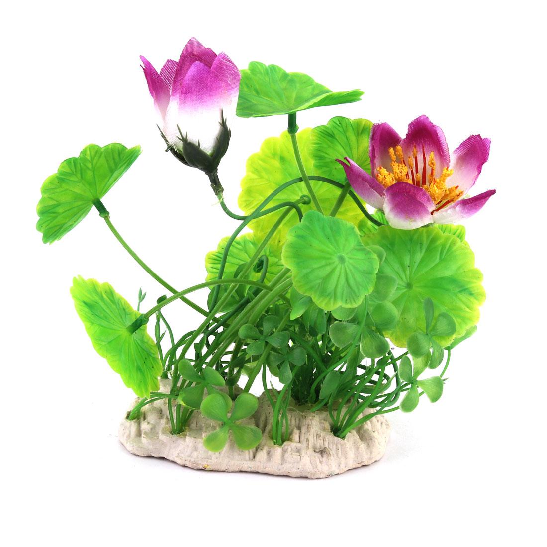 Aquarium Fishbowl Lotus Leaf Shape Emulation Water Plant Ornament Green Purple