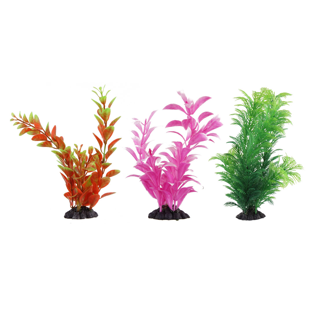 Aquarium Fishbowl Plastic Imitated Underwater Plant Grass Adornment 3 in 1